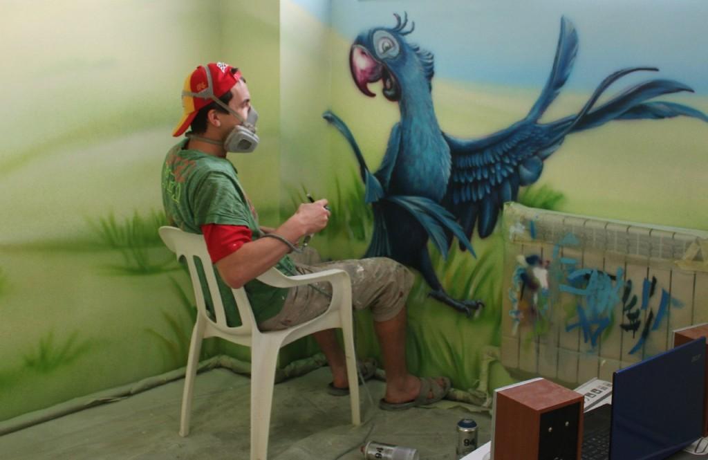 Роспись магазина детских игрушек. Рабочий процесс